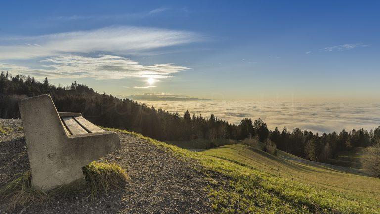Eichenberg, Blick zum Bodensee im Wolkenmeer