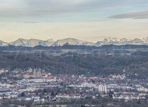 Weingarten mit Alpenpanorama